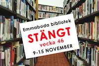Emmaboda bibliotek stängt vecka 46